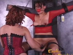 Girl in red fishnet underware dominated and humiliated like never in advance of