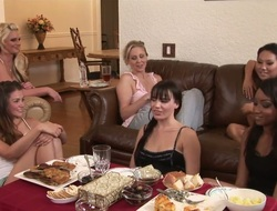 Allie Haze, Asa Akira, Dana DeArmond, Julia Ann and Phoenix Marie are sitting and having dirty talk. All sweethearts are in anticipation of having unforgettable lesbian group sex.