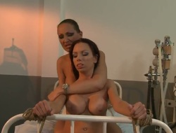Brunette hair busty honey Vivien Bianchy receives bound up on a bed as her holes receive fingered and rubbed