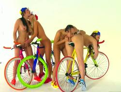 Celeste Star, Dani Daniels, Destiny Dixon and Sammie Rhodes have two strict rules: they cycle absolutely naked, this helps to increase speed, and they take up with the tongue their pussies after each race, it helps to relax their bodies.